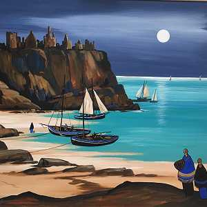 Moonlight at Dunluce