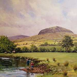 Fishing for trout near Slemish